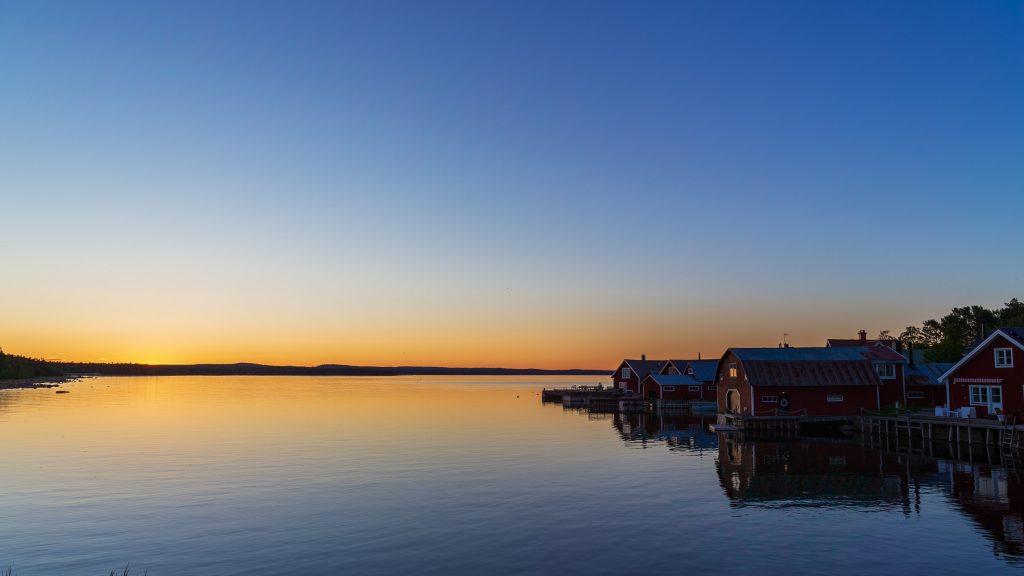 Solnedgång på Rönnskär, Stocka.